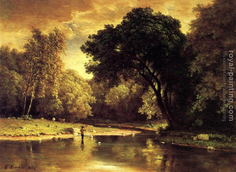 George Inness : Fisherman in a Stream