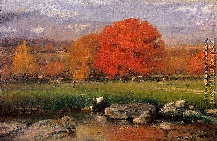George Inness : Morning Catskill Valley aka The Red Oaks