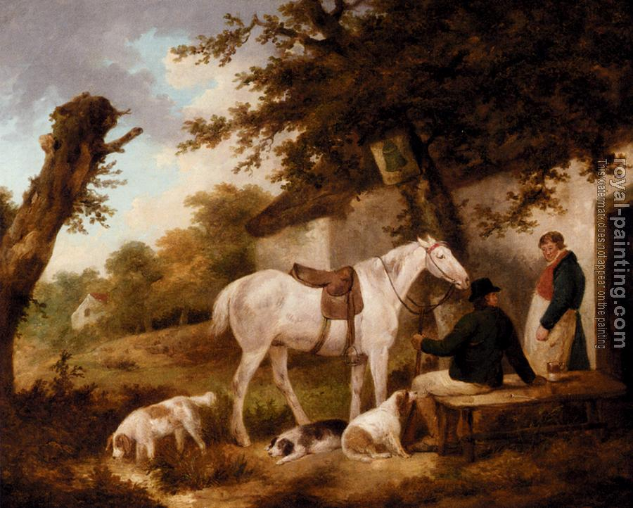 George Morland : Travellers Resting Outside The Bell Inn