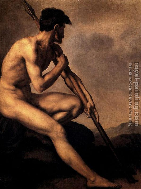 Theodore Gericault : Nude Warrior with a Spear