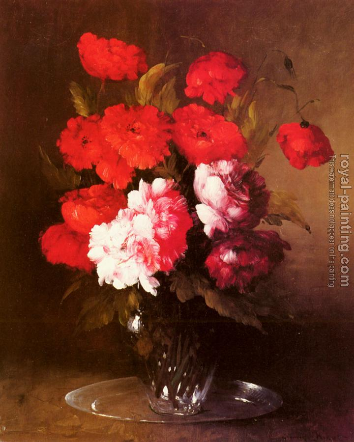 Germain Theodure Clement Ribot : Pink Peonies And Poppies In A Glass Vase