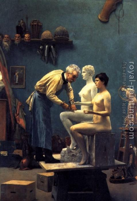 Jean-Leon Gerome : Working in Marble, or The Artist Sculpting Tanagra