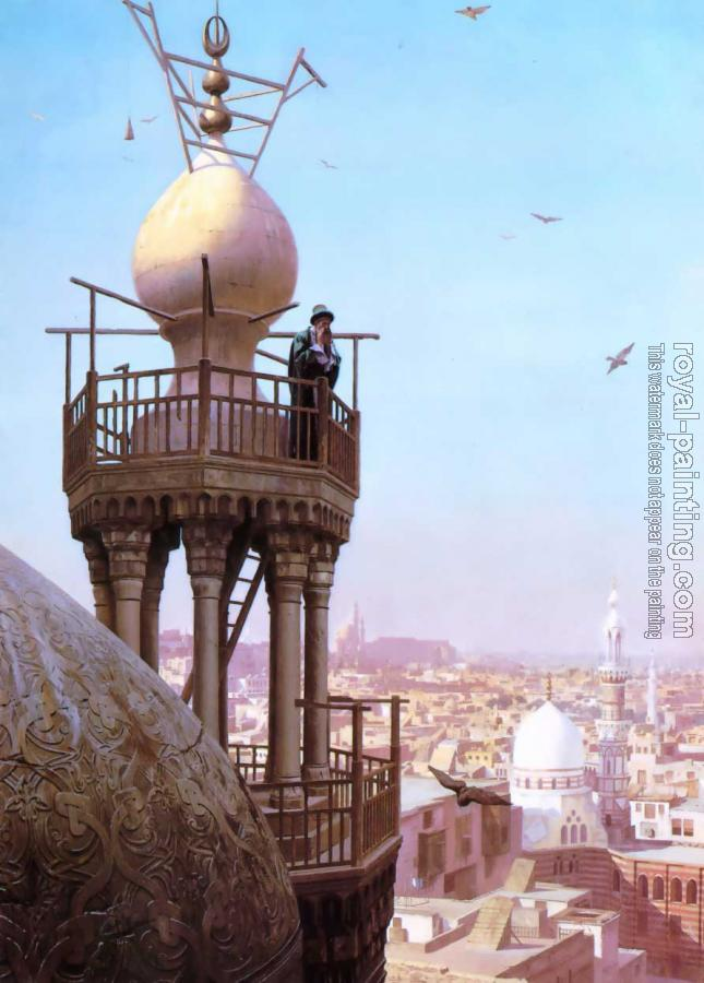 Jean-Leon Gerome : A Muezzin Calling from the Top of a Minaret the Faithful to Prayer