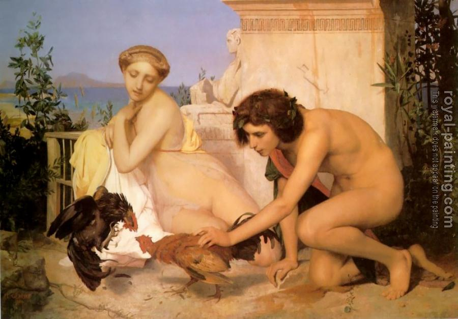 Jean-Leon Gerome : Young Greeks Encouraging Cocks to Fight