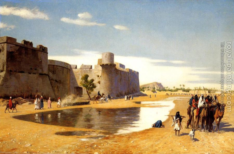 Jean-Leon Gerome : An Arab Caravan outside a Fortified Town, Egypt