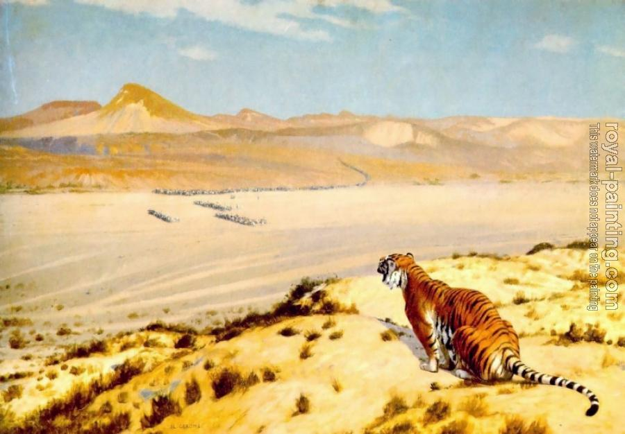 Jean-Leon Gerome : Tiger on the Watch II