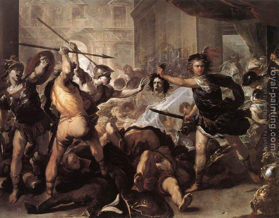 Luca Giordano : Perseus Fighting Phineus and his Companions