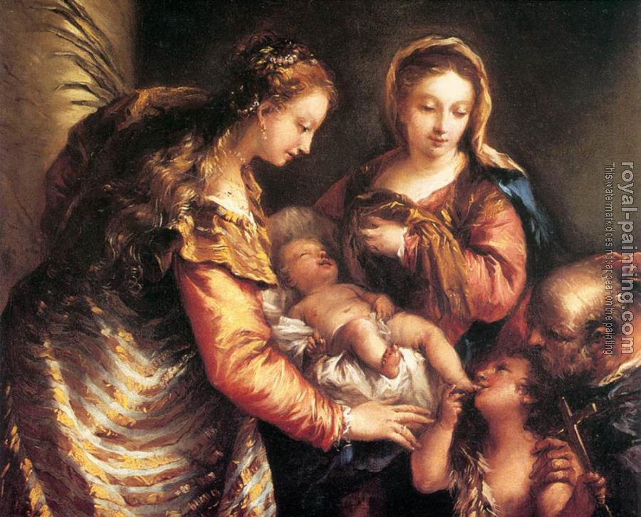Giovanni Antonio Guardi : Holy Family with St John the Baptist and St Catherine