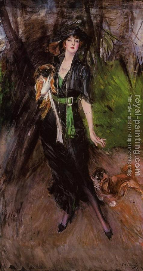Giovanni Boldini : Portrait of Lina Bilitis, with Two Pekinese