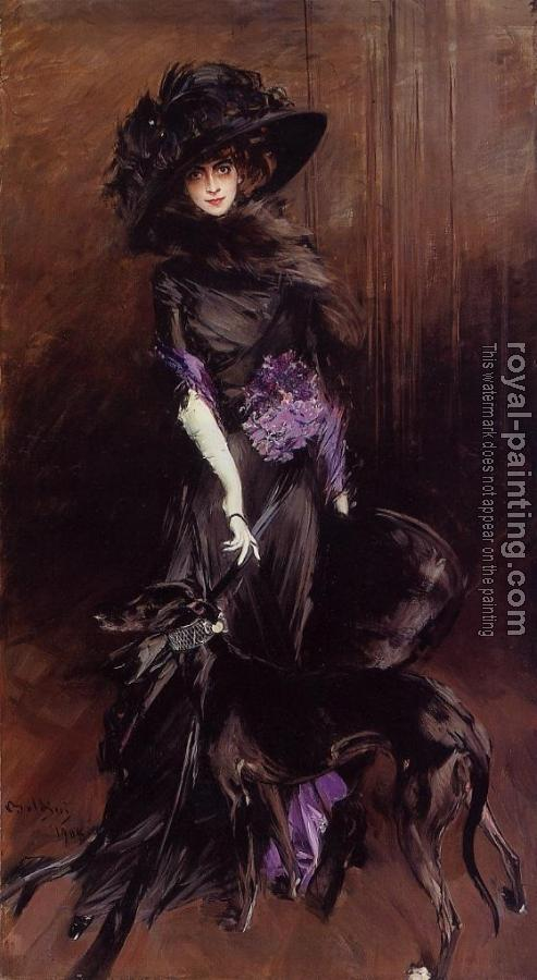 Giovanni Boldini : Portrait of the Marchesa Luisa Casati, with a Greyhound