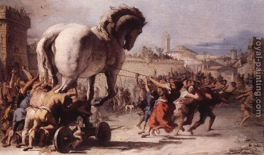Giovanni Domenico Tiepolo : The Procession Of The Trojan Horse In Troy