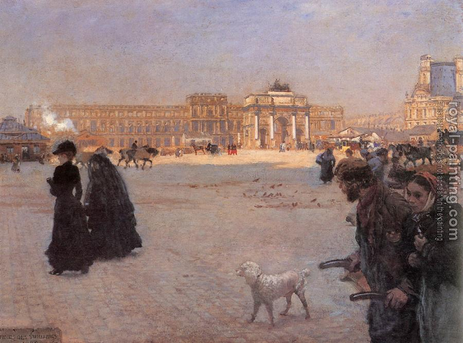 Giuseppe De Nittis : The Place de Carrousel and the Ruins of the Tuileries Palace