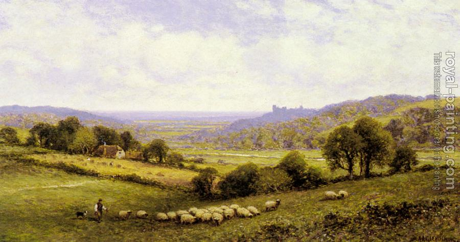 Alfred Glendening : Near Amberley, Sussex, with Arundel Castle in the Distance
