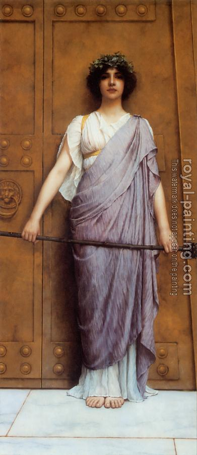 John William Godward : At the Gate of the Temple, The Priestess of Bacchus