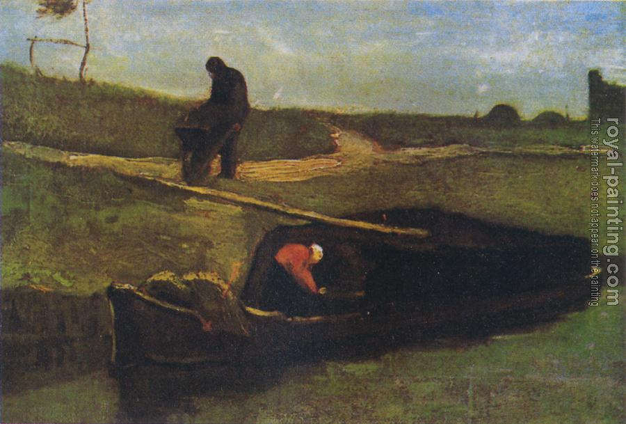 Vincent Van Gogh : Peat boat with two figures
