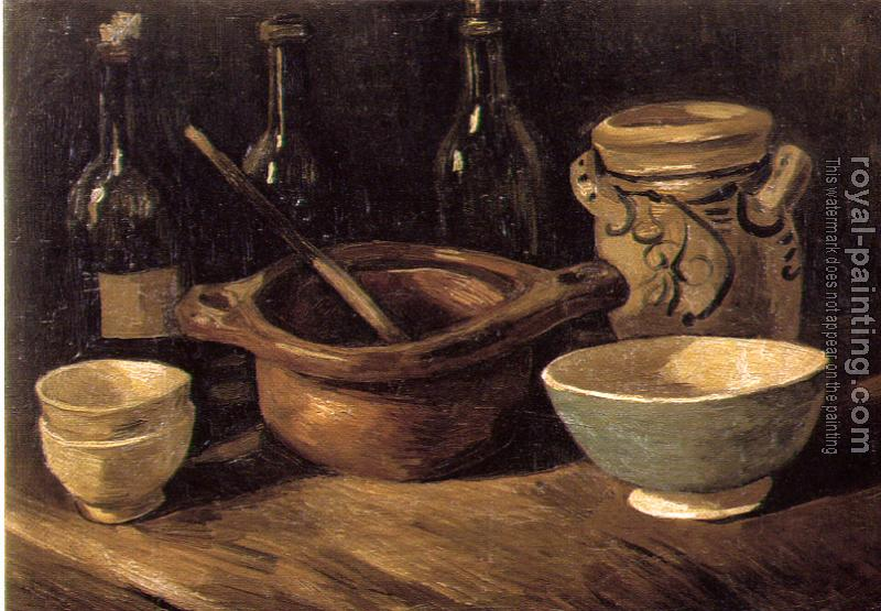 Vincent Van Gogh : Still Life with Pottery and Three Bottles