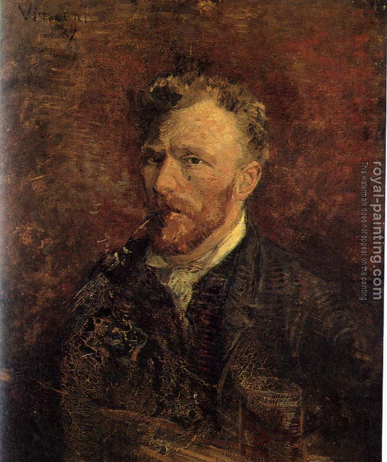 Vincent Van Gogh : Self-Portrait With Pipe and Glass