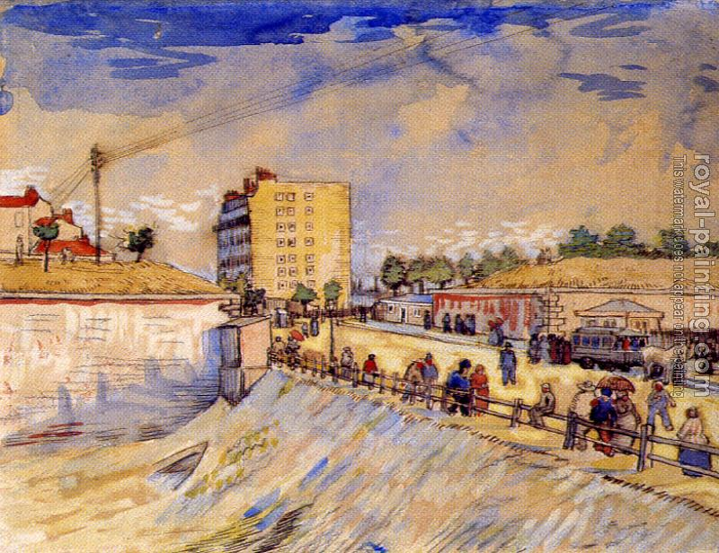 Vincent Van Gogh : Street with People Walking and a Horsecar near the Ramparts