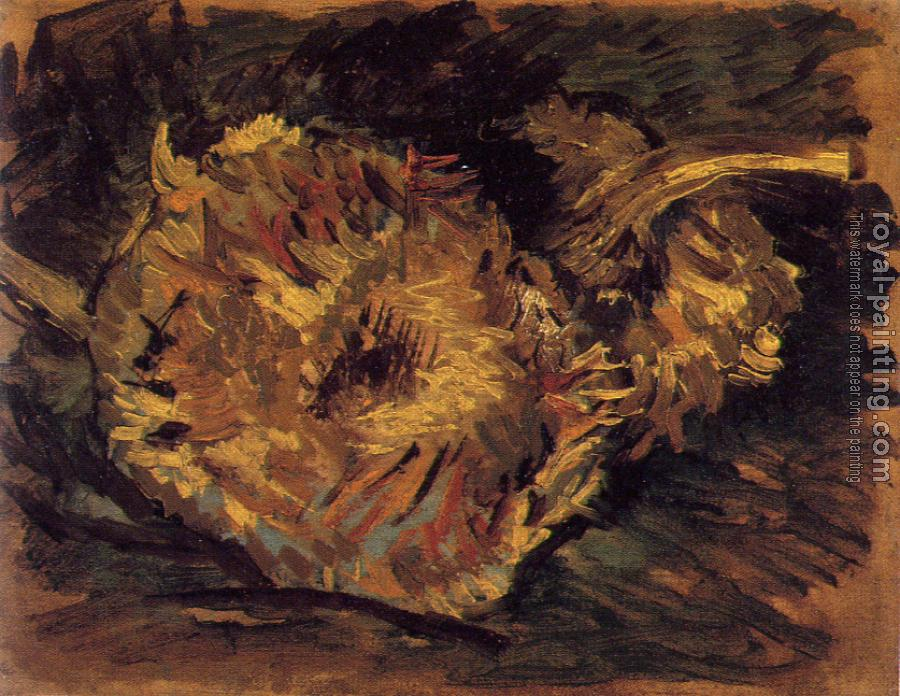 Vincent Van Gogh : Two Cut Sunflowers,One Upside Down