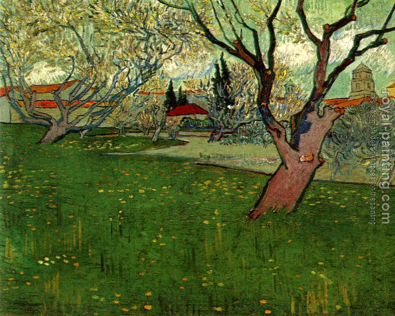 Vincent Van Gogh : Orchard in Bloom with View of Arles