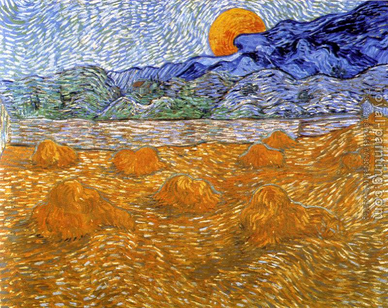 Vincent Van Gogh : Enclosed Field with Sheaves and Rising Moon