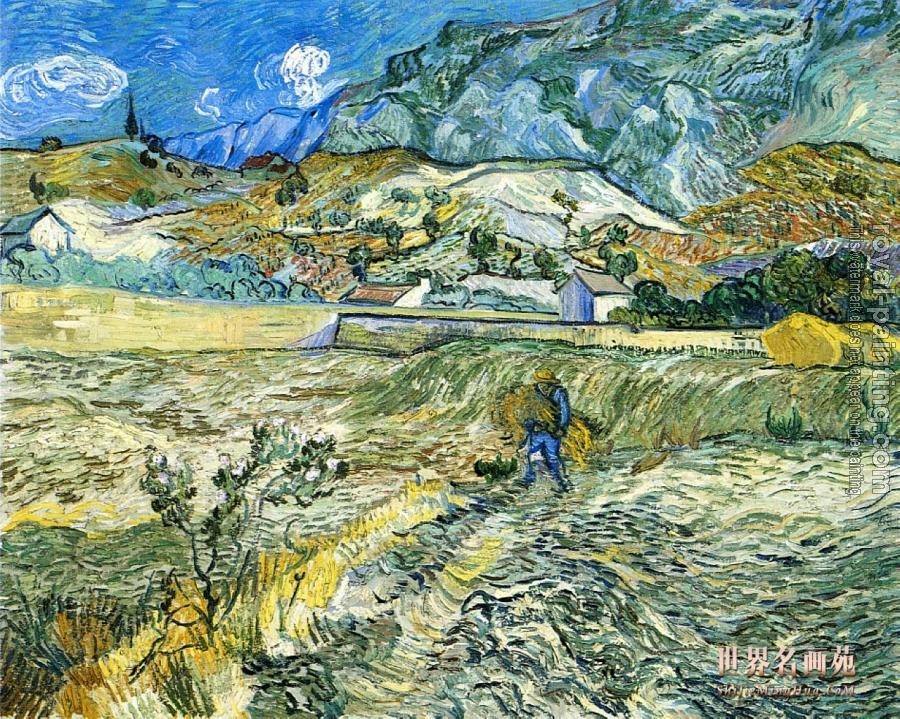 Vincent Van Gogh : Enclosed Field with Farmer Carrying a Bundle of Straw