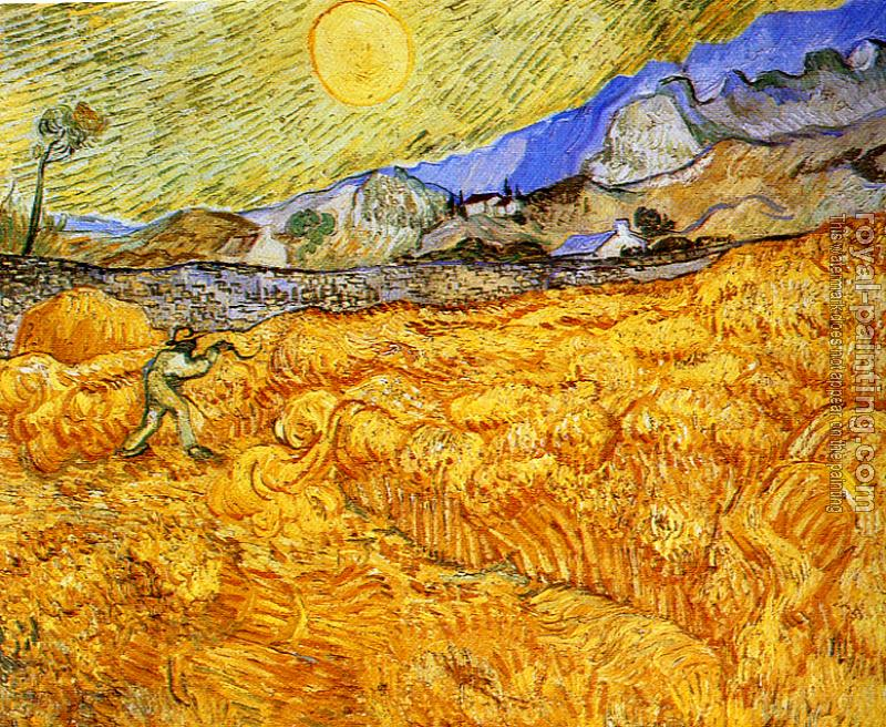 Vincent Van Gogh : Enclosed Field with Reaper at Sunrise