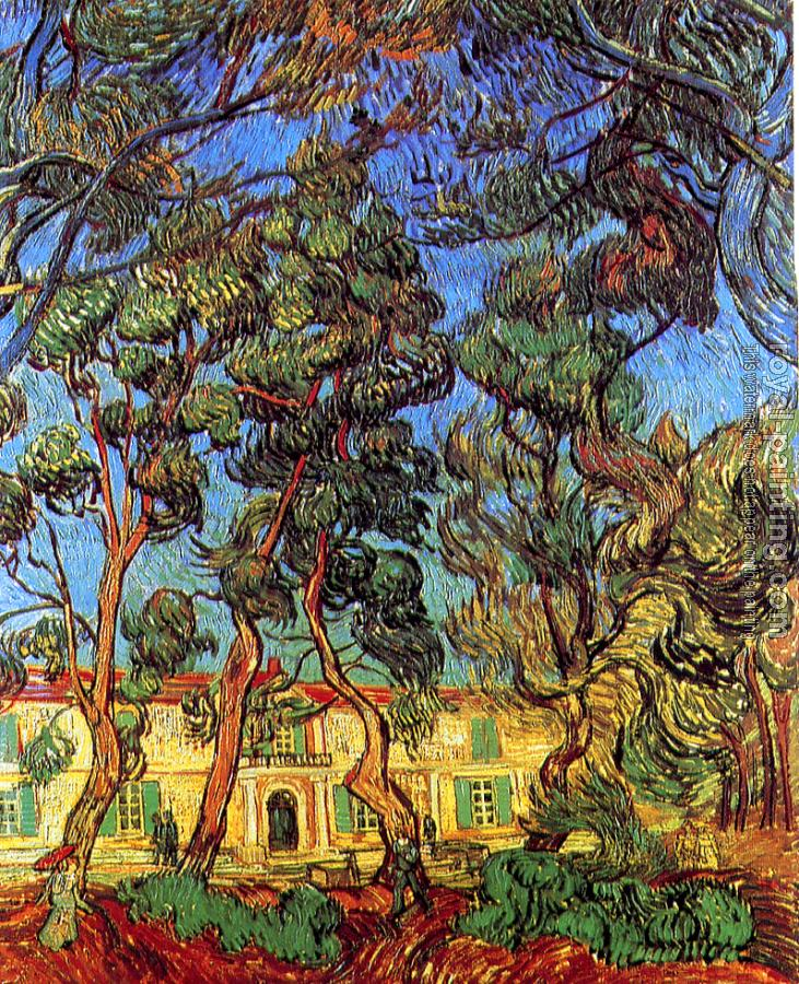 Vincent Van Gogh : Trees in Front of the Entrance of the Asylum