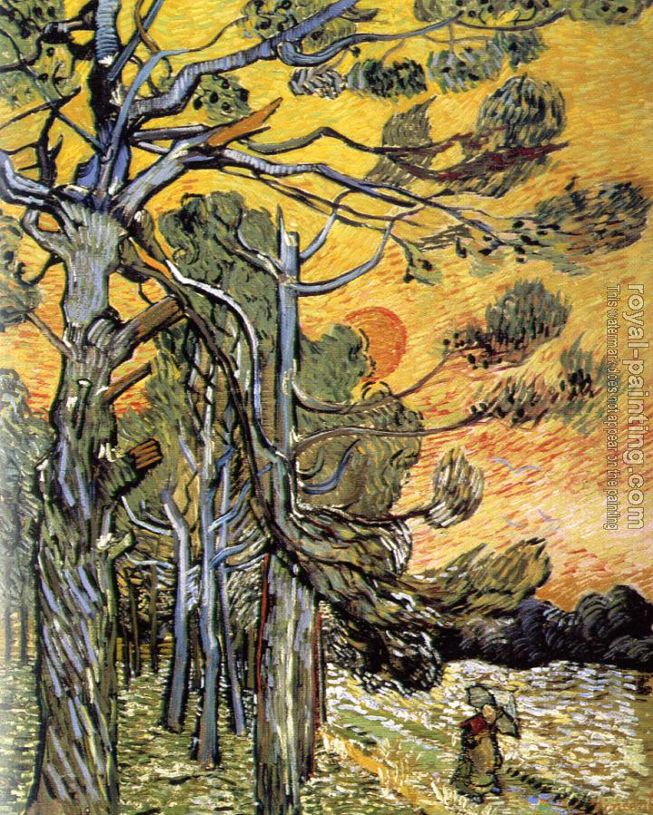 Vincent Van Gogh : Storm-Beaten Pine Trees against the Setting Sun