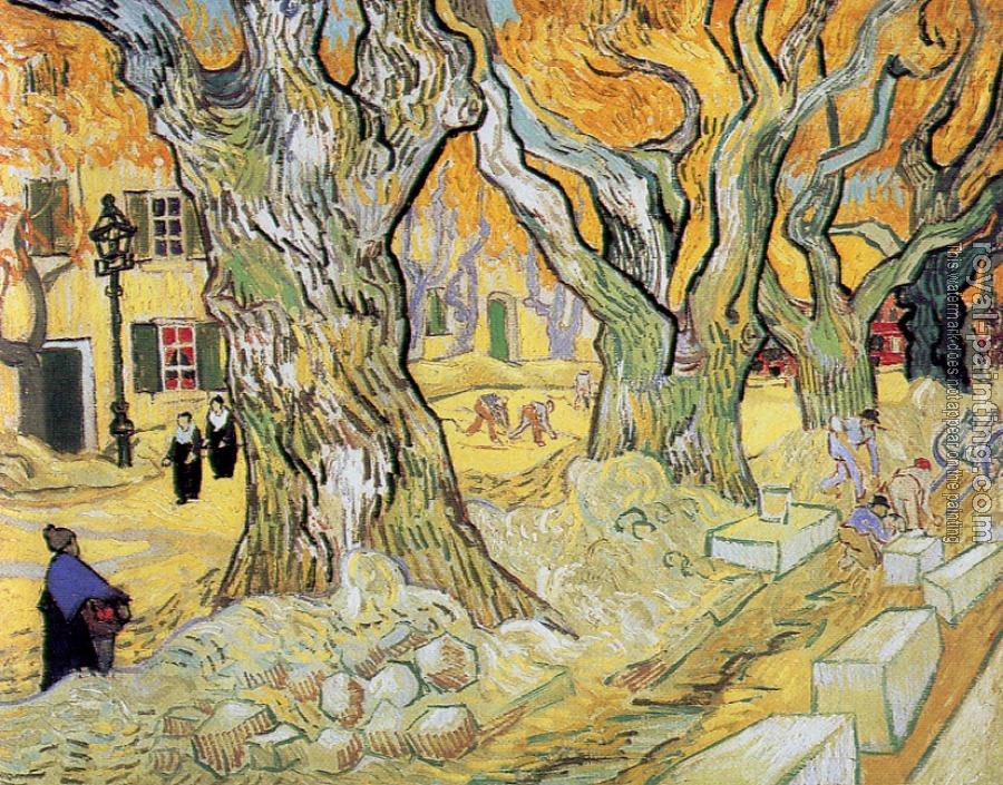 Vincent Van Gogh : Road Menders in a Lane with Massive Plane Trees