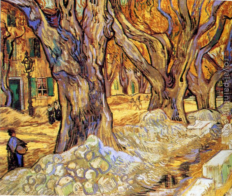 Vincent Van Gogh : Road Menders in a Lane with Massive Plane Trees II