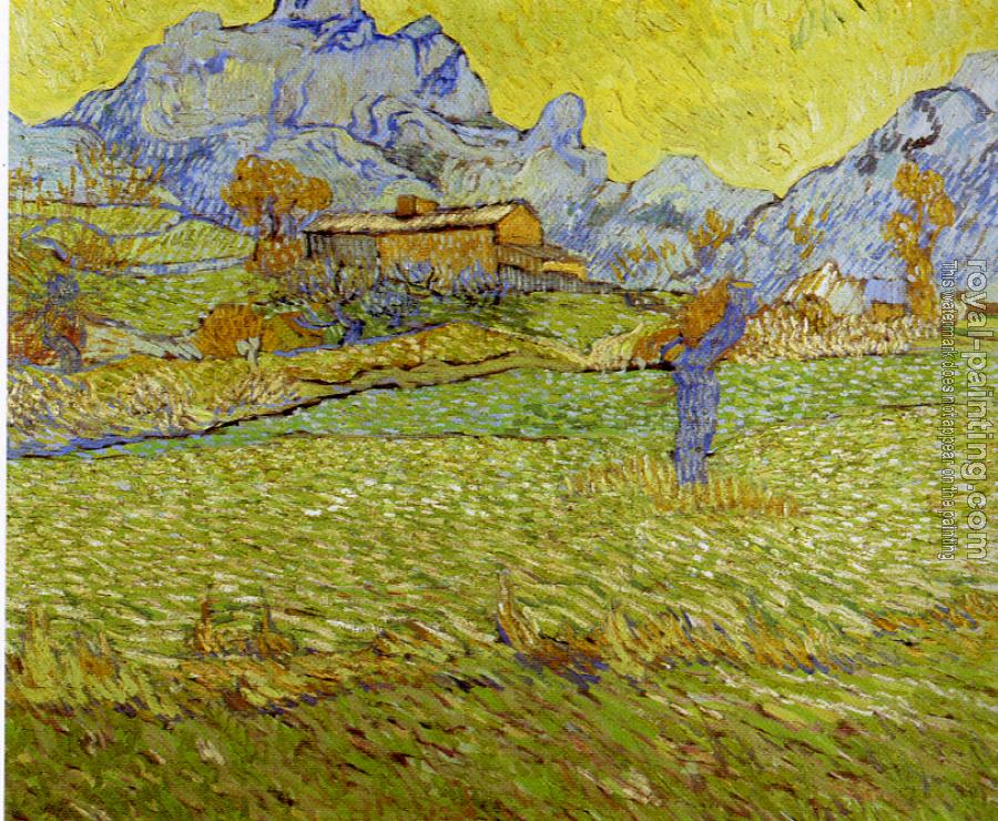 Vincent Van Gogh : Fields with Pollard Tree and Mountainous Background