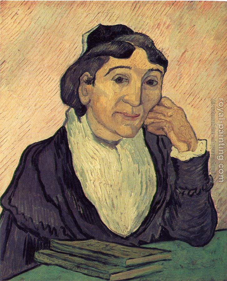 Vincent Van Gogh : The Arlesienne(Madame Ginoux), with Cherrg Colored Background