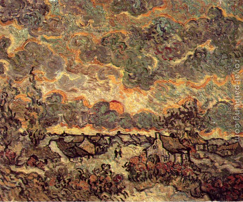 Vincent Van Gogh : Cottages and Cypresses at Sunset with Stormy Sky
