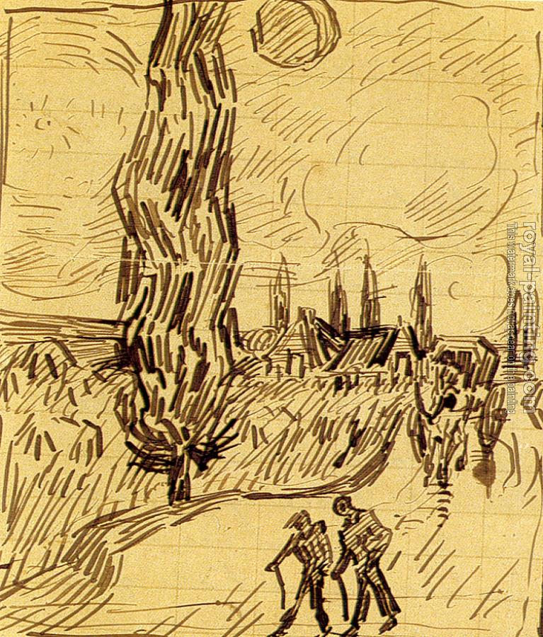 Vincent Van Gogh : Road with Men Walking, Carriage, Cypress, Star, and Crescent Moon