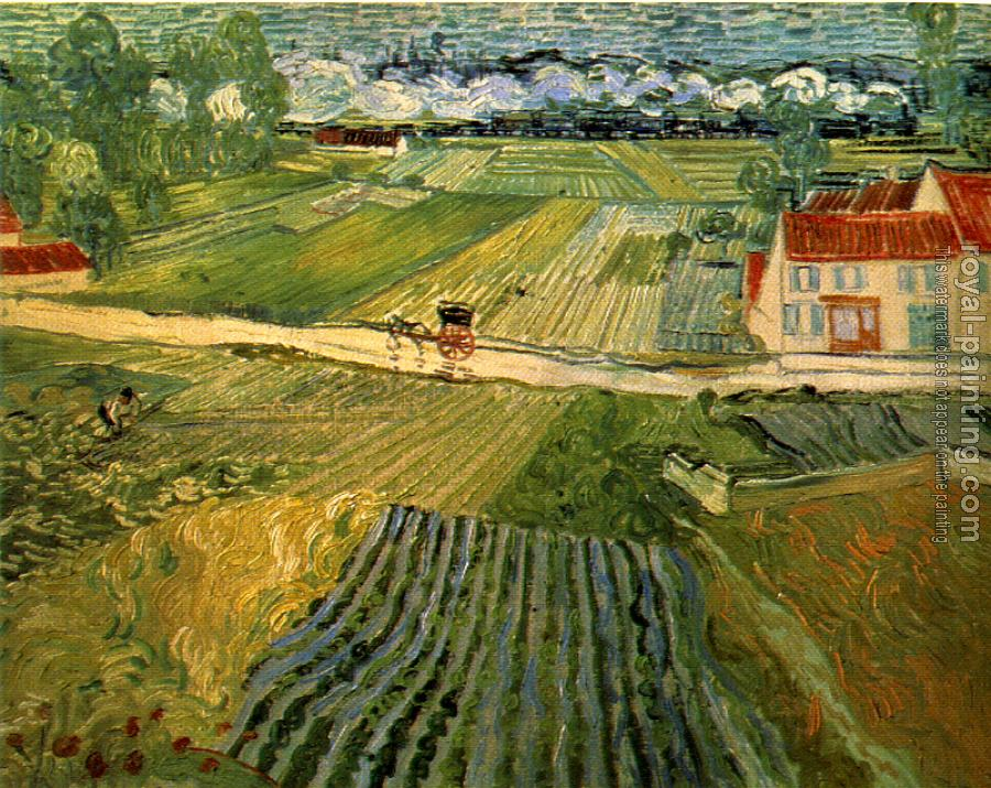 Vincent Van Gogh : Landscape with Carriage and Train in the Background