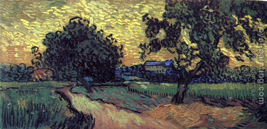 Vincent Van Gogh : Field with Trees and the Chateau of Auvers at Sunset