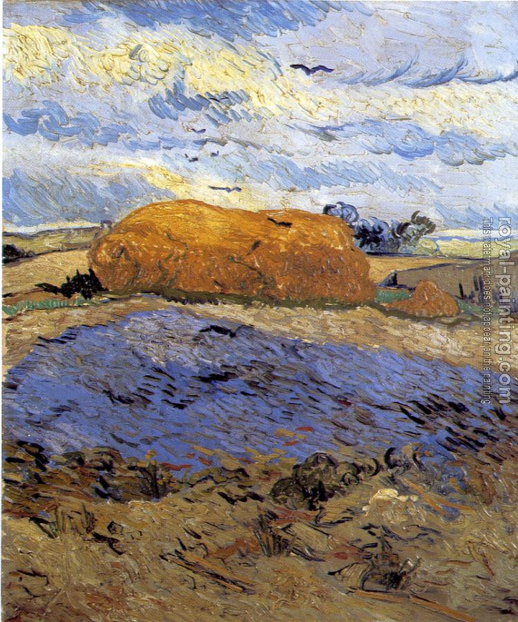 Vincent Van Gogh : Field with a Stack of Wheat or Hay