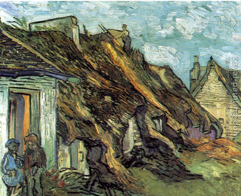 Vincent Van Gogh : Cottages with thatched roofs and figures