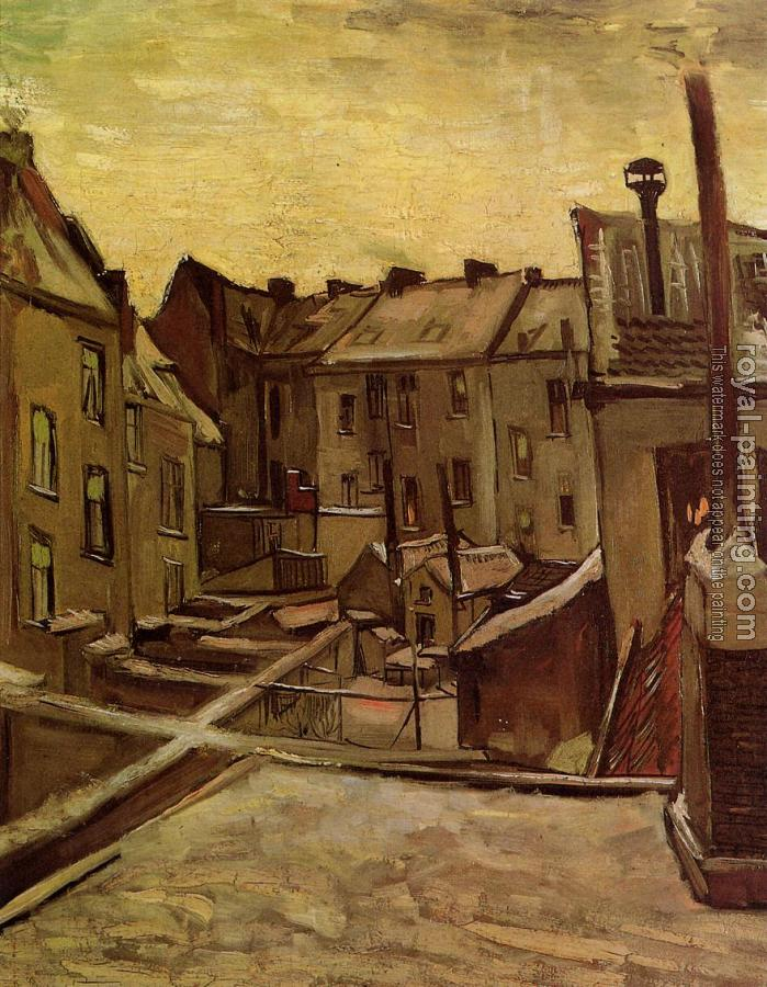 Vincent Van Gogh : Backyards of Old Houses in Antwerp in the Snow