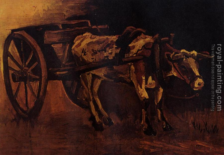 Vincent Van Gogh : Cart with Red and White Ox