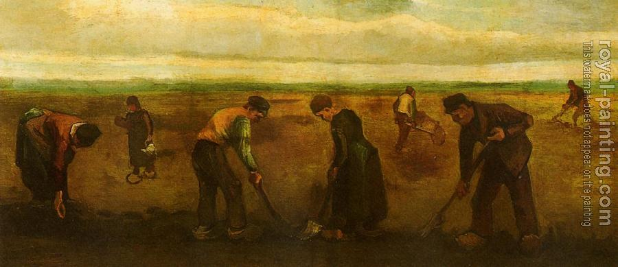 Vincent Van Gogh : Farmers Planting Potatoes