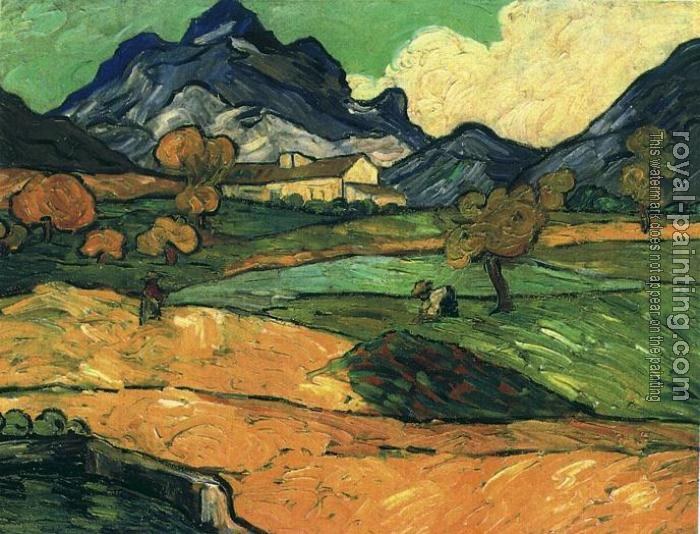 Vincent Van Gogh : Le Mont Gaussier with the Mas de Saint-Paul