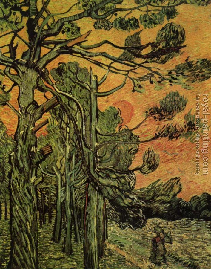 Vincent Van Gogh : Palm Trees against a Red Sky with Setting Sun