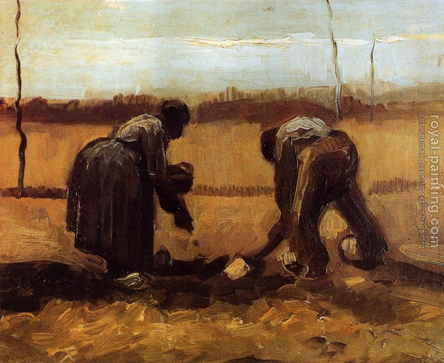 Vincent Van Gogh : Peasant Man and Woman Planting Potatoes II