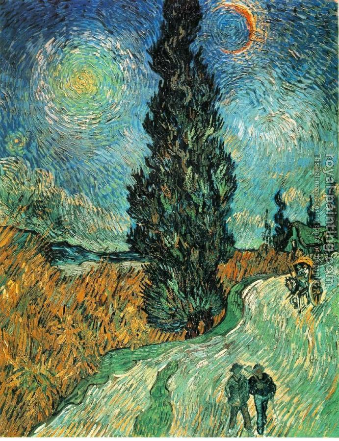 Vincent Van Gogh : Road with Cypress and Star