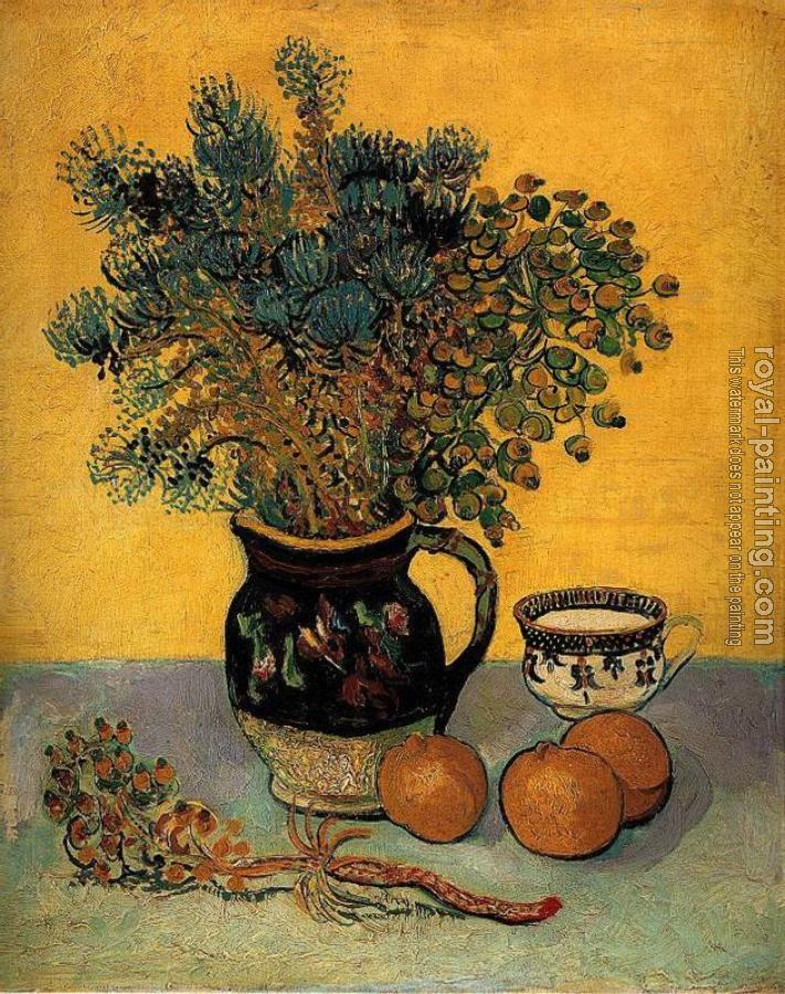 Vincent Van Gogh : Still Life, Majolica Jar with Wild Flowers