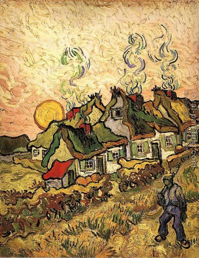 Vincent Van Gogh : Thatched Cottages in the Sunshine, Reminiscence of the Nort