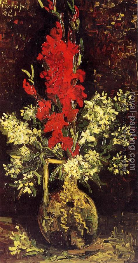 Vincent Van Gogh : Vase with Gladioli and Carnations
