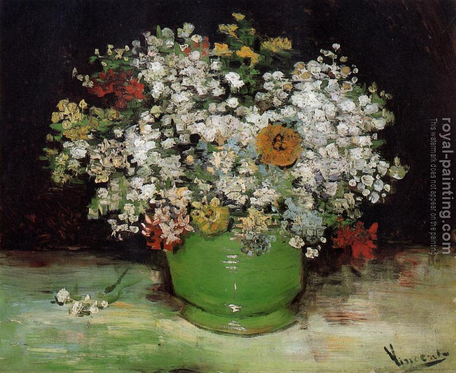 Vincent Van Gogh : Vase with Zinnias and Other Flowers